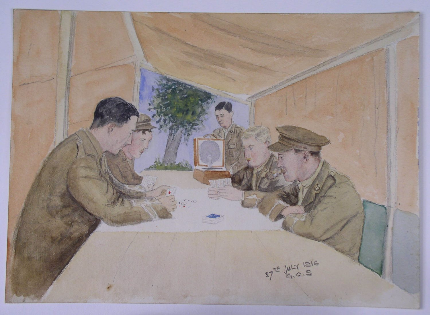 A watercolour painting of five soldiers in a tent. four are playing a card game at a long white table while a man on the far end is standing with a record player. First world War by Colonel Spence.
