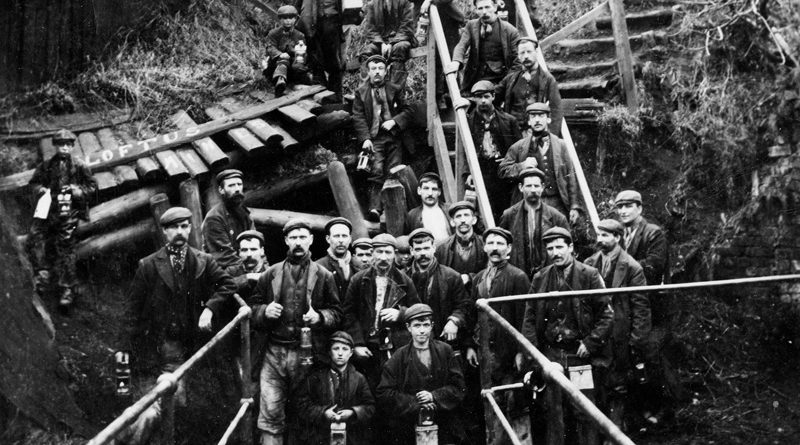 A group of loftus miners, including children