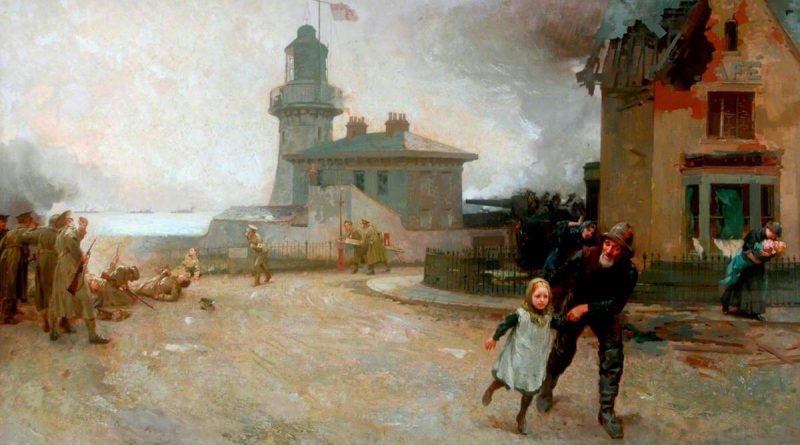 Painting of Hartlepool Headland during the bombardment