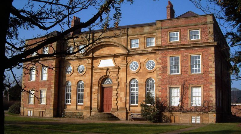 Kirkleatham museum, a Georgian mansion with large main front door with four floors.