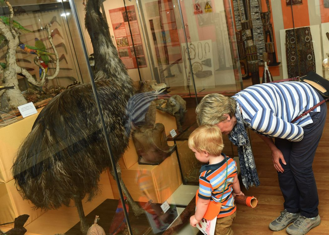 A lady and toddler look clsely at a display in Captain Museum