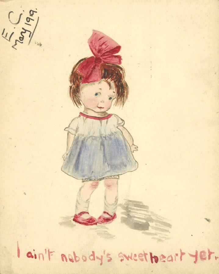 drawing of a little girl in a blue dress with a large pink bow in her hair. 'I ain't nobody's sweetheart yet!'