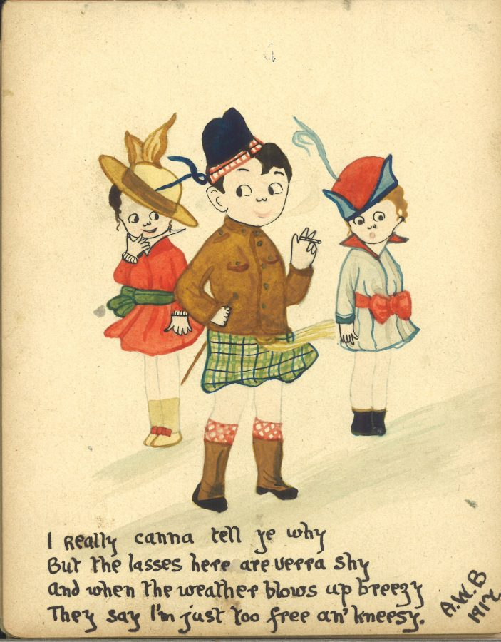 Drawing of a little boy in a kilt making a joke with two little girls in the background