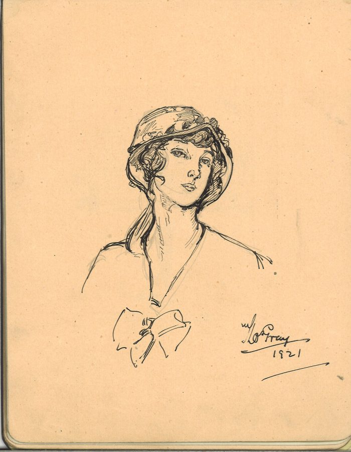 Sketch of a woman's head and shoulders portrait