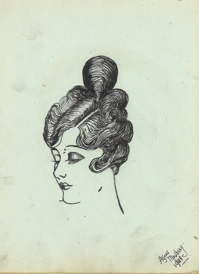 Sketch of a woman's head in a profile showing an elaborate the hair style of finger waves