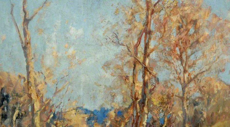 Painting of trees alongside a stream