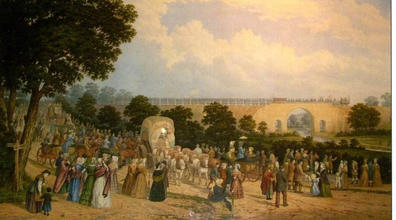 scene showing the opening of the stockton and darlington railway in 1825