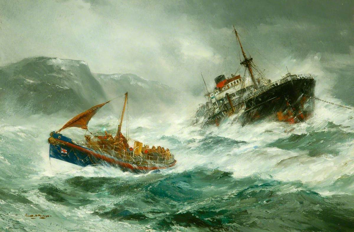 Oil Painting of a lifeboat heading out to a distressed ship in the North Sea.