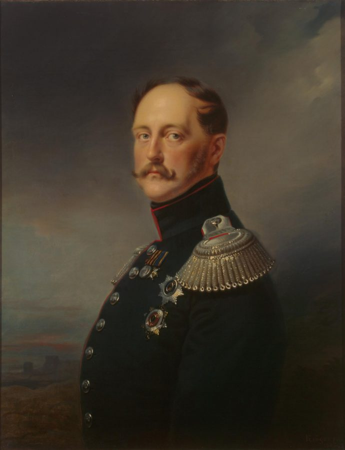 painting of a the Tsar of Russia in a black military uniform