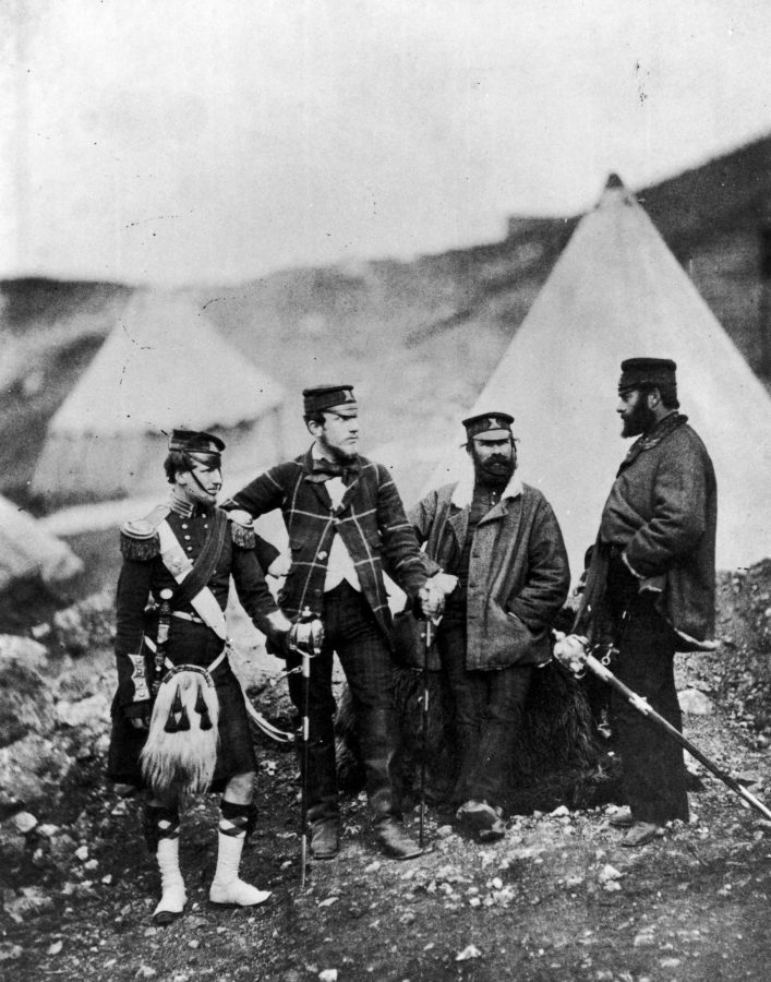 four soldiers pose for the camera in the Crimea 1850s
