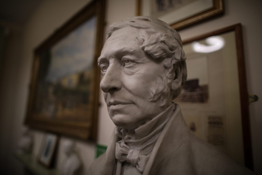 Marble bust of Henry Pease close up of his face