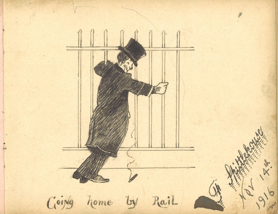 Drawing going home by rail. A man in a long coat and top hat leaning on a railing.