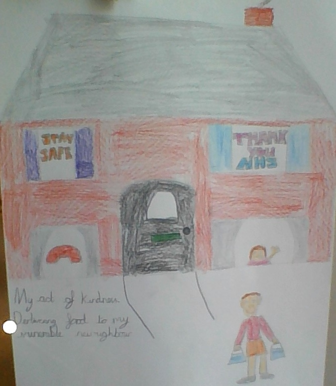 childrens drawing of a red brick house with 'Thank you NHS in the windows and a boy stands outside