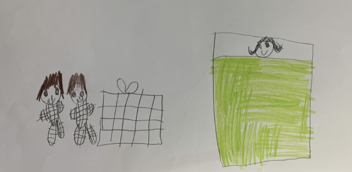 Child's drawing of a woman sick in bed, with a green blanket and two people bringing her a present