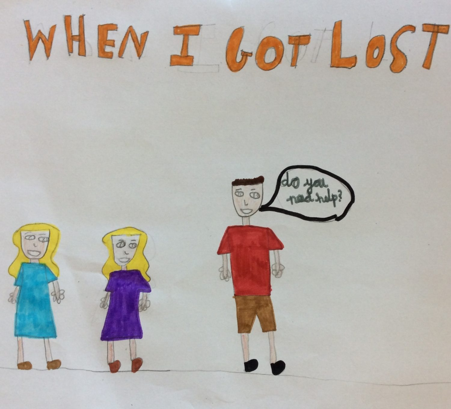 childrens drawing showing three people and the title 'when I got lost'