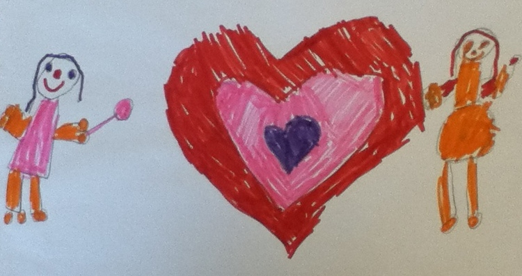 childrens drawing of a red, ping and blue heart