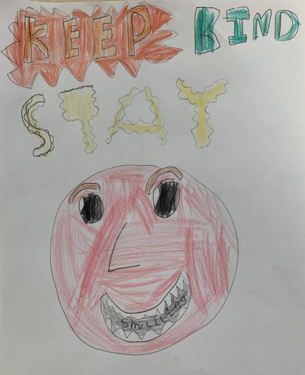 childrens drawing of a big smiling face, coloured in red, with the words 'Keep Kind Smile'