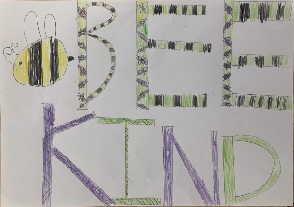 childrens drawing with a yellow and black bee and the words 'bee kind'