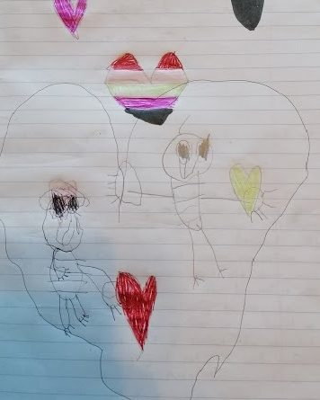 childrens drawing of two people inside a giant heart surrounded by little hearts