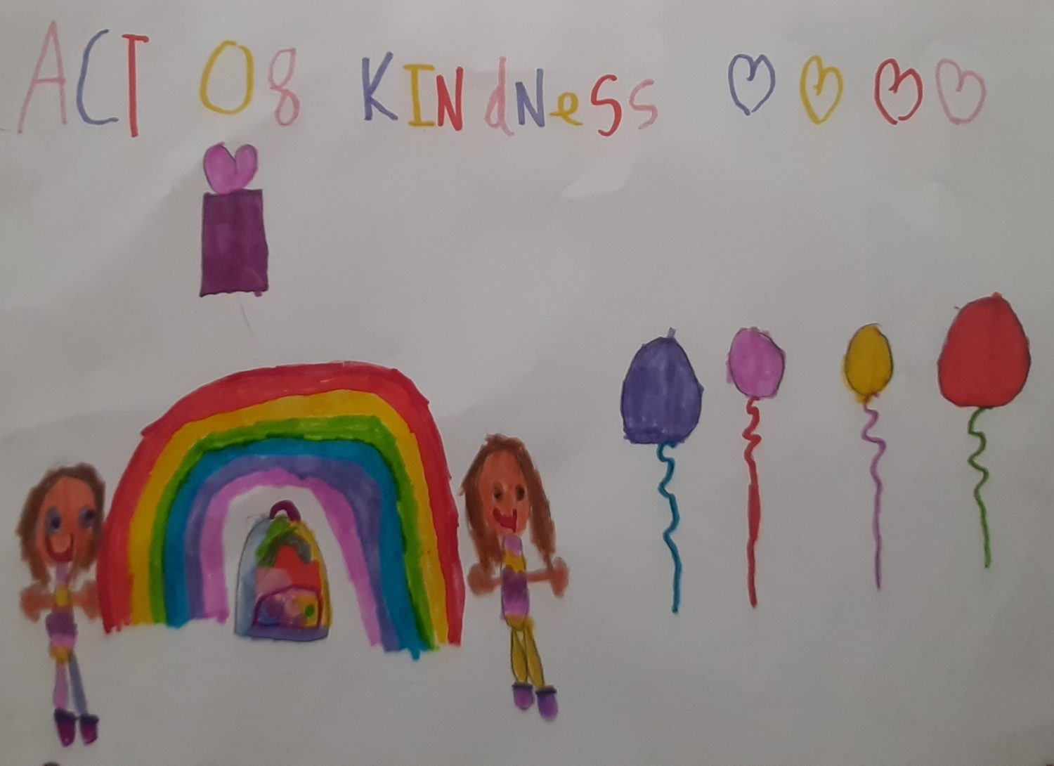 childrens drawing in pen with a rainbow