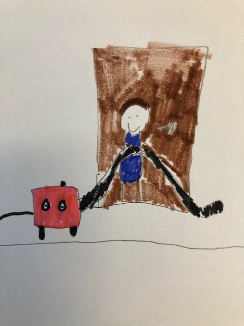 children's drawing of a kid hovering with a henry hoover