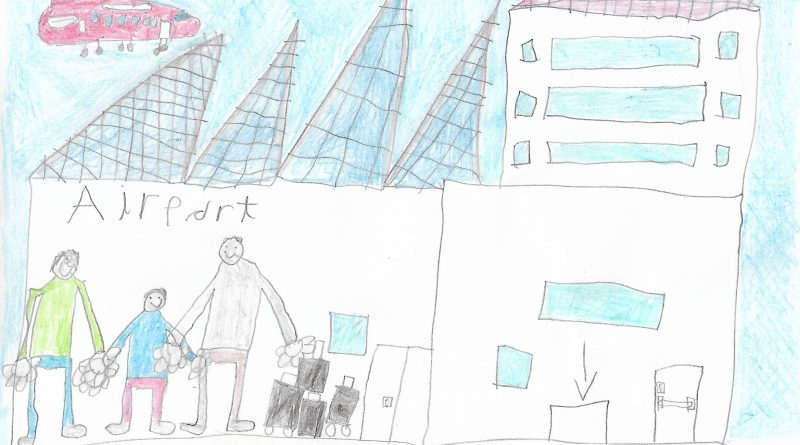 childrnes drawing in coloured pencils showing a man holding hands with a boy and buildings in the background