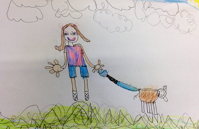 childrens drawing of a young girl holding a dog lead, with a little brown dog.