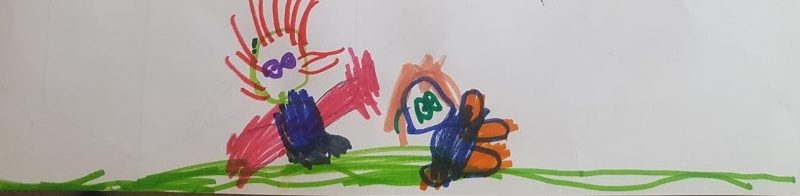 children's drawing in coloured pens showing two figures lying on the grass