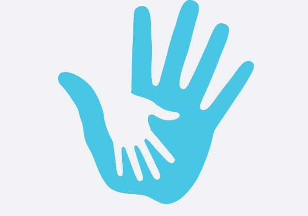 image of a cartoon style blue hand with a white imprint of a white hand inside of it