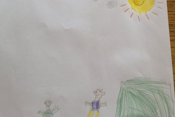 childrens drawing showing two kids playing outside under a big yellow sun