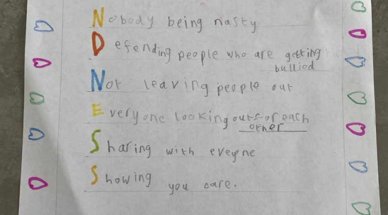 Children's handwritten poem on kindness