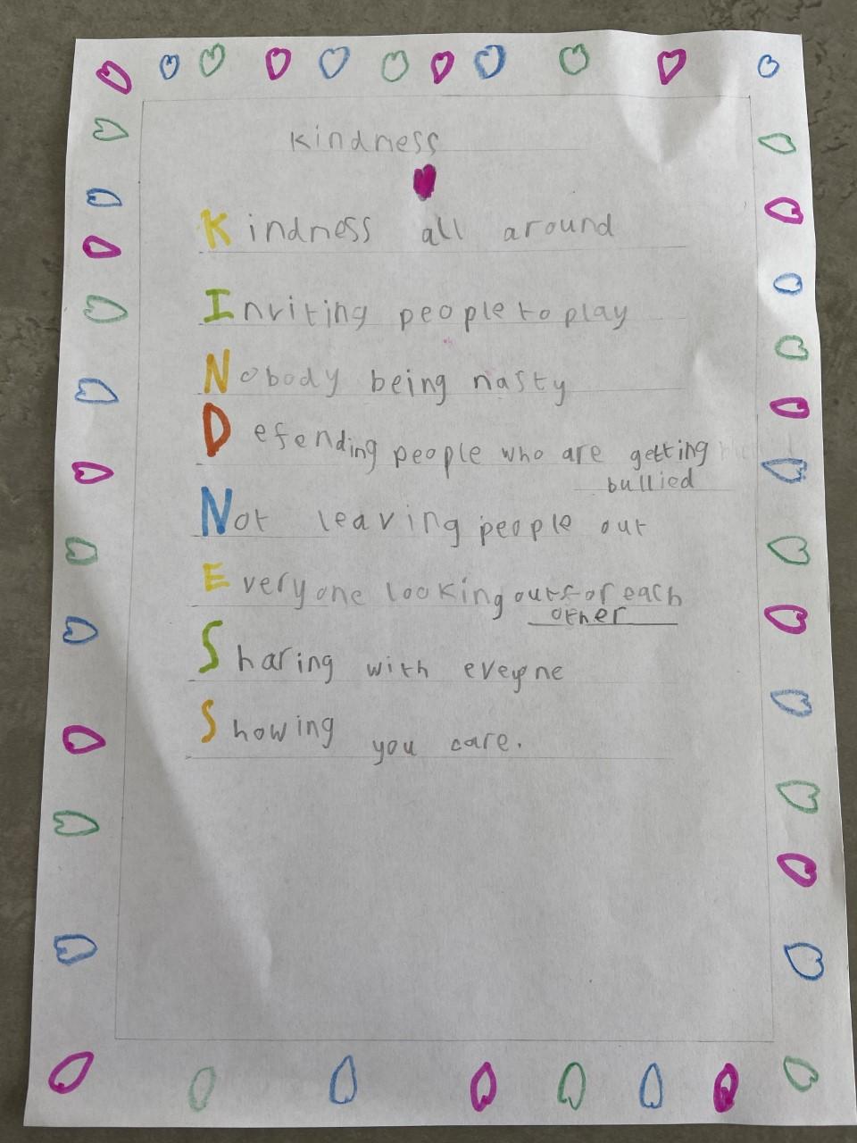 Children's handwritten poem on kindness