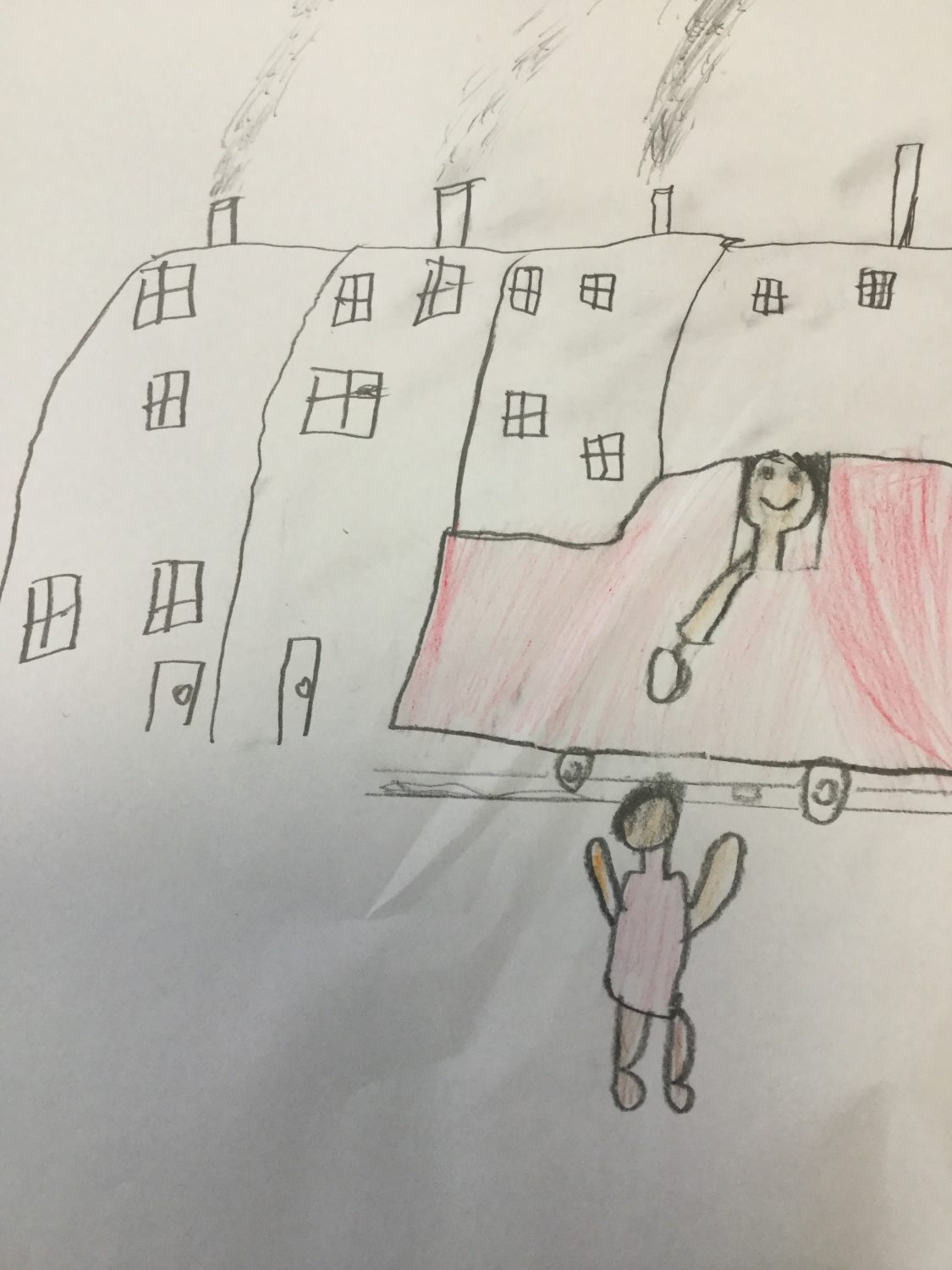 children's drawing of a ice cream van handing an ice-cream to a child. Houses with chimney smoke in the background