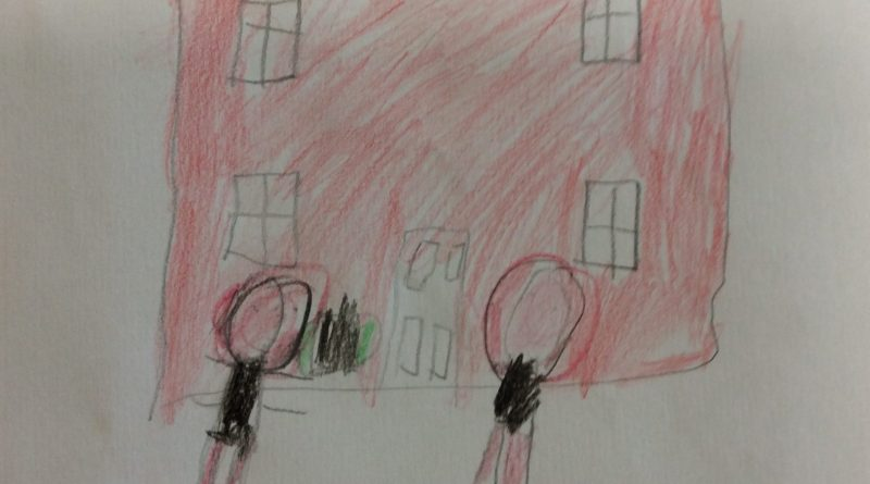 childrens drawing two kids standing front of a house