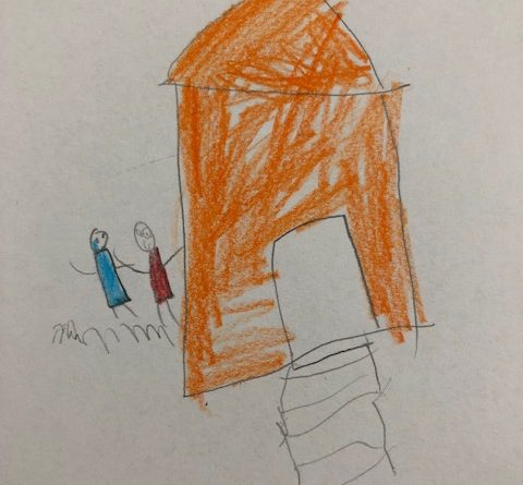 children's drawing of an orange house with two children playing outside