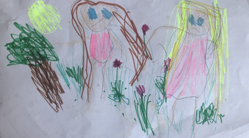 children's drawing of two girls with long hair