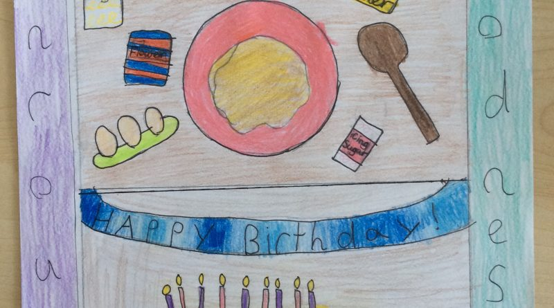 childrens drawing of a birthday cake