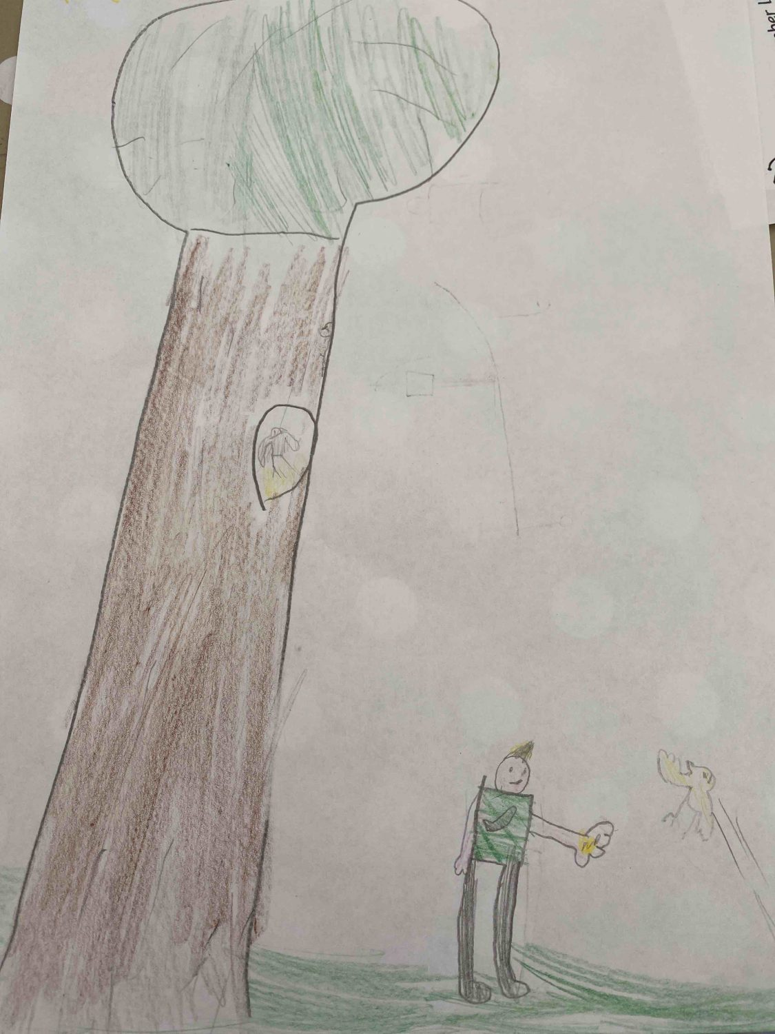 children's drawing of a tree with a boy stood underneath