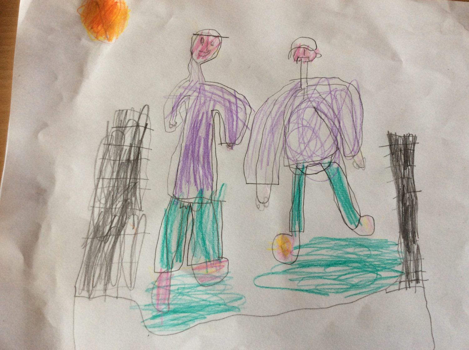 childrens drawing I helped my cousin by doing funny noises and he laughed.