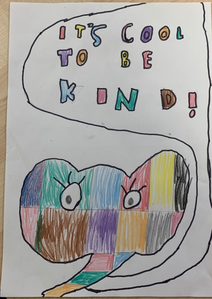 children's drawing of a mulit-coloured elephant saying 'its cool to be kind'