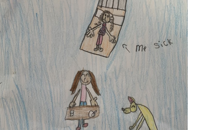 childre'ns drawing in coloured pencil showing a sick child, their mother and their dog