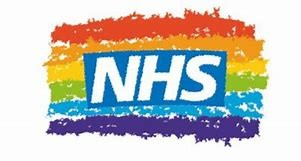 NHS Banner on a rainbow background