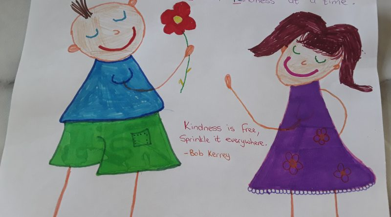 childrens drawing of two little girld in flowing dresses. One id passing a flower to the other and both are smiling