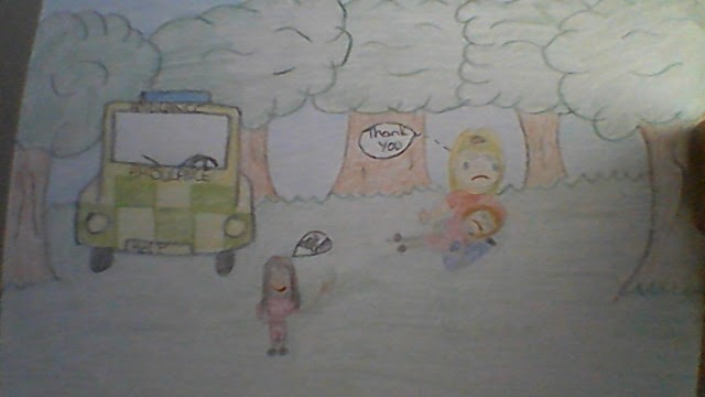 childrens drawing with a car and a child sitting under a tree