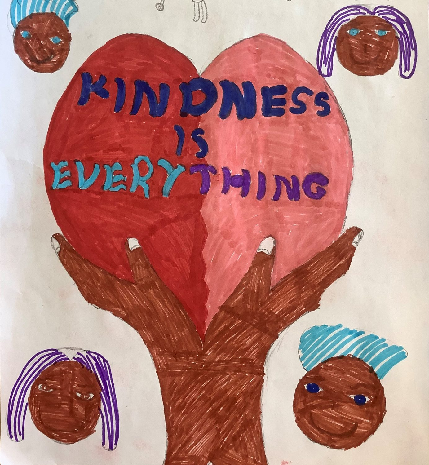 childrens drawing. Two hands hold a giant heart with the words 'kindness is everything'