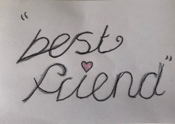 Handwritten in pencil the words 'best friend'