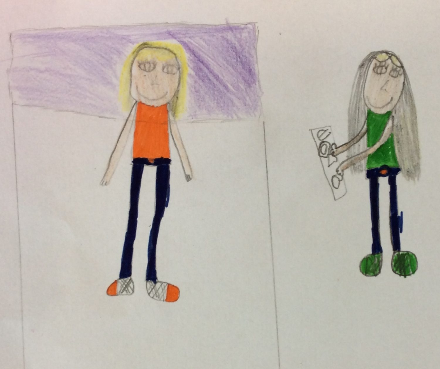 children's drawing of two girls