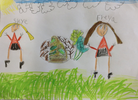childrens drawing in coloured pencil's of two girls under a blue sky with green grass