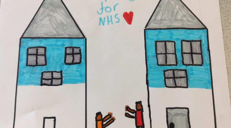 childrens drawing 'clapping for NHS'