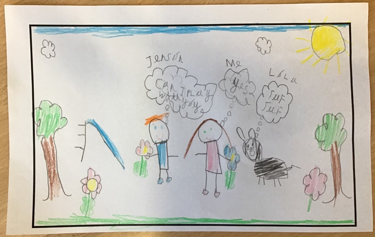 childrens drawing of two kids playing in the park with a dog